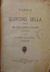 Parole di Quintino Sella presidente del Club Alpino Italiano ai socii della sezione di Napoli il 9 gennaio 1880