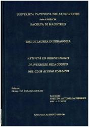 Attività ed orietamenti di interesse pedagogico nel Club alpino italiano