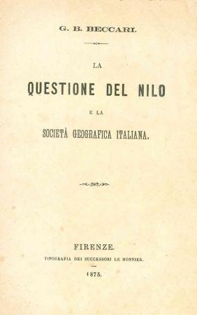 La questione del Nilo e la società geografica italiana