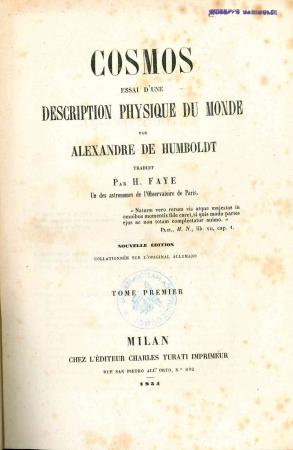 Cosmos : essai d'une description physique du monde / par Alexandre de Humboldt. 1