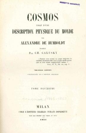 Cosmos : essai d'une description physique du monde / par Alexandre de Humboldt. 2