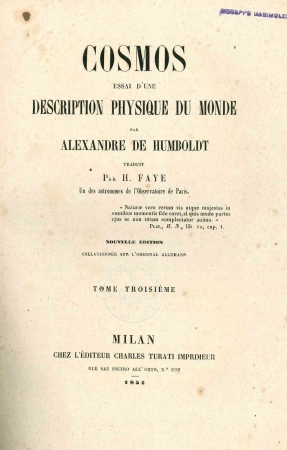 Cosmos : essai d'une description physique du monde / par Alexandre de Humboldt. 3