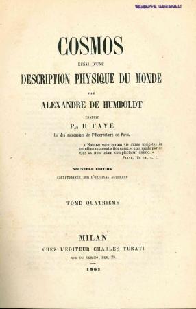 Cosmos : essai d'une description physique du monde / par Alexandre de Humboldt. 4