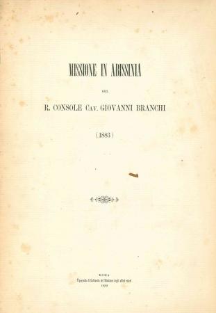 Missione in Abissinia del r. console cav. Giovanni Branchi (1883)