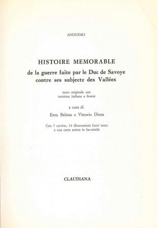 Histoire memorable de la guerre faite par le Duc de Savoye contre ses subjectz des vallees