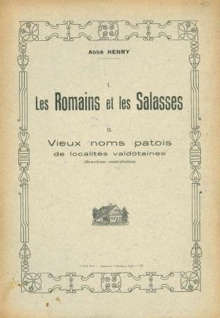 1. Les Romains et les Salasses. 2. Vieux noms patois de localites valdotaines