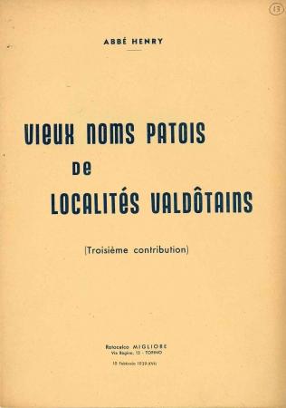 Vieux noms patois de localités valdôtaines