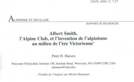 Albert Smith, l'Alpine Club et l'invention de l'alpinisme au milieu de l'ère Victorienne