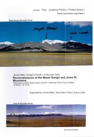 Reconnaissance of the Mayer Kangri and Jomo Ri mountains