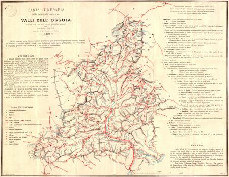 Carta itineraria delle principali escursioni nelle valli dell'Ossola