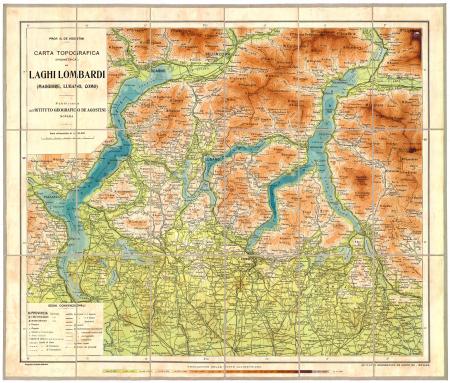 Carta topografica (ipsometrica) dei laghi lombardi (Maggiore, Lugano, Como)