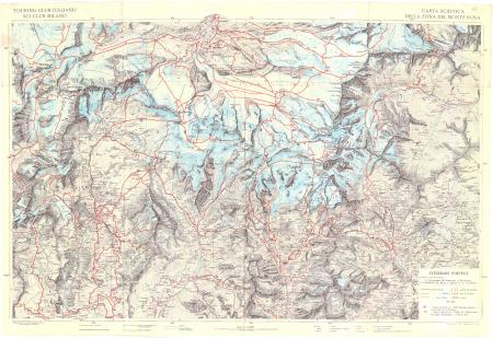 Carta sciistica della zona del Monte Rosa