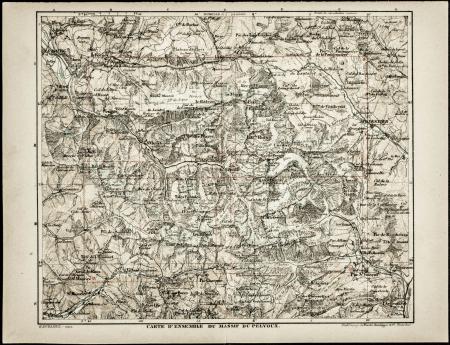 Carte d'ensamble du Massif du Pelvoux