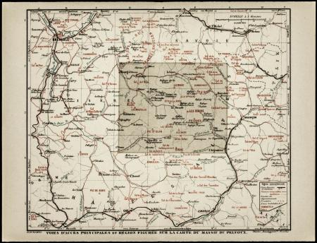 Voies d'accès principales et région figurée sur la carte du Massif du Pelvoux