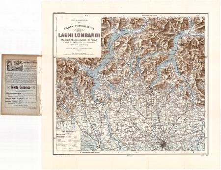 Carta topografica dei laghi lombardi Maggiore, di Lugano, di Como...
