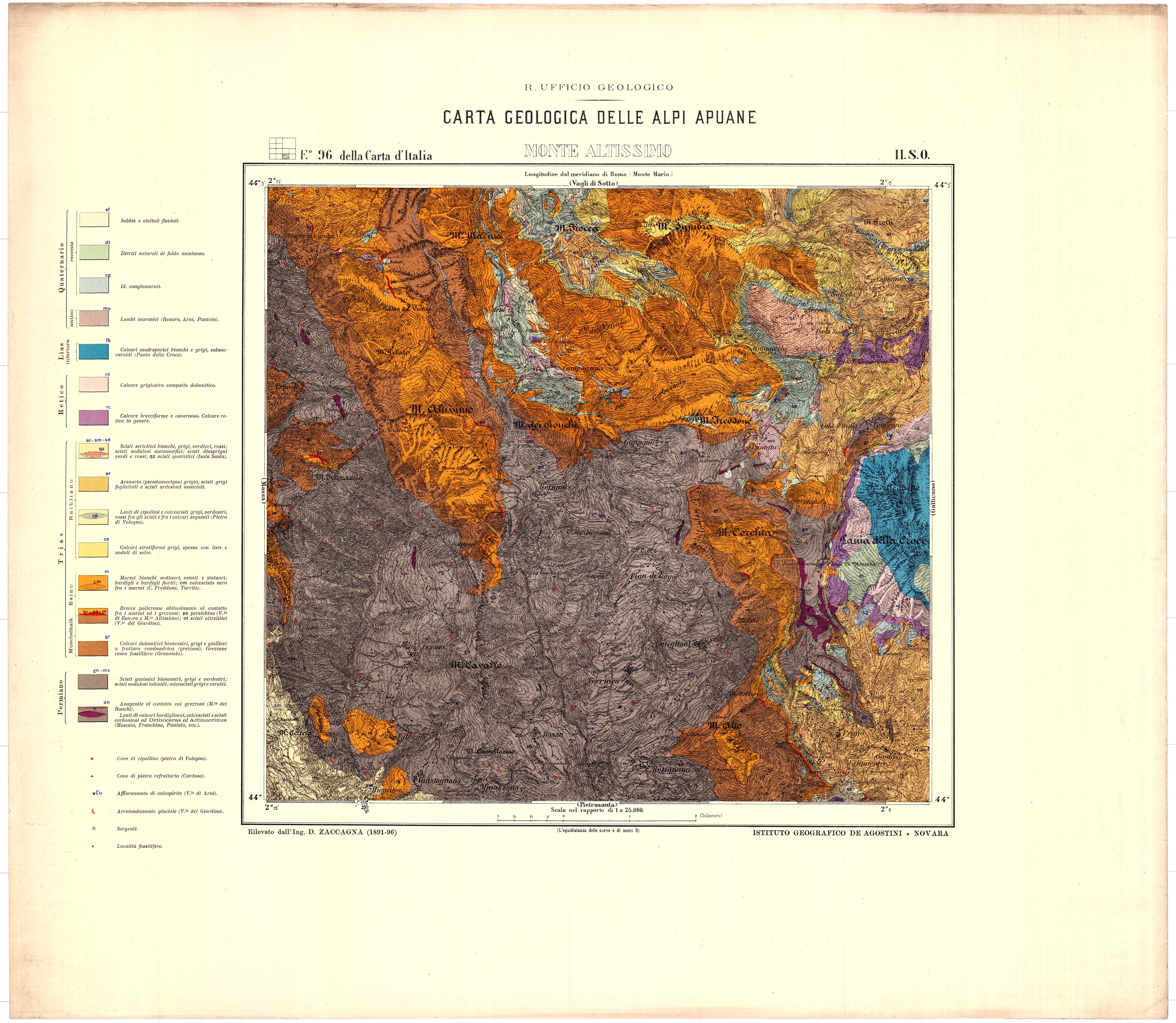 F.° 96 della Carta d'Italia II SO: *Monte Altissimo