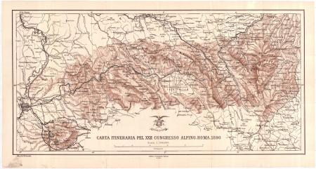 Carta itinerario pel 22. congresso alpino, Roma 1890