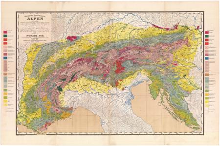 Geologische übersichtskarte der Alpen