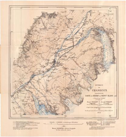 Environs de Chamonix : extraits de la carte du Massif du Mont Blanc à l'échelle de 1:20 000e