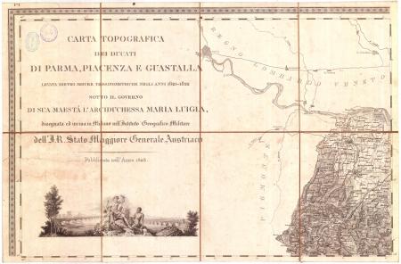 Carta topografica dei ducati di Parma, Piacenza e Guastalla. F.° 1