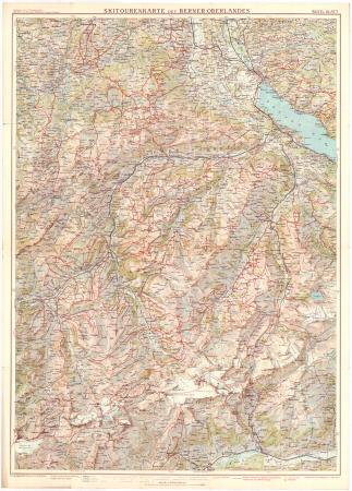 Skitourenkarte des Berner Oberlandes. Westl blatt