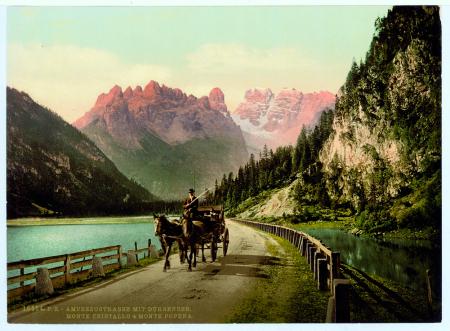 16554 Ampezzostrasse mit Dürrensee. Monte Cristallo & Monte Popena