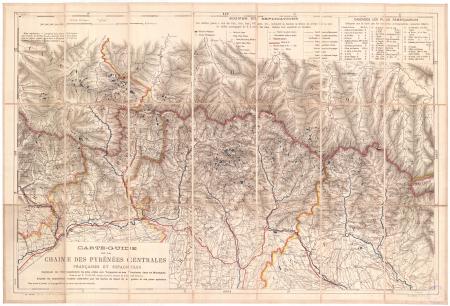 Carte-guide de la chaîne des Pyrénées centrales françaises et espagnoles