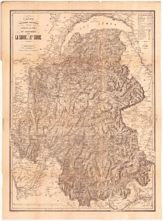 Carte physique, routière, administrative des départements de la Savoie et de la H.te Savoie