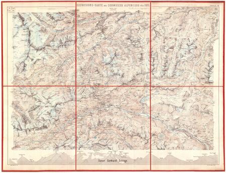Excursions-Carte des Schweizer Alpenclub für 1871