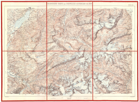 Excursions-Carte des Schweizer Alpenclub für 1875