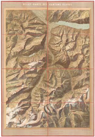 Relief-Karte des Kantons Glarus