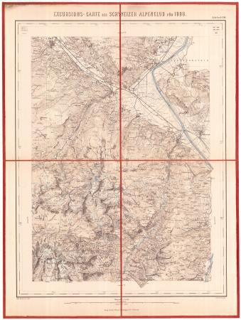 Excursions-Carte des Schweizer Alpenclub für 1888