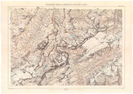 Excursions-Carte des Schweizer Alpenclub für 1884