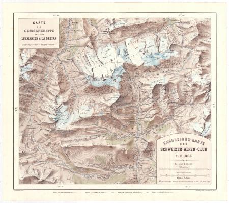 Excursions-Karte des Schweizer-Alpen-Club für 1865