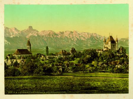 [1706 Interlaken, 1293 Kirche & Schloss Thun. Stockhornkette]