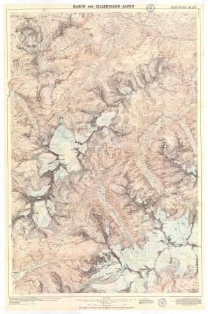 Karte der Zillertaler Alpen. Westliches Blatt