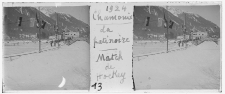 13 1924 Chamonix. La patinoire. Match de hockey