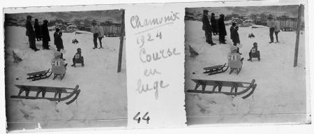 44 Chamonix 1924. Couse de luge