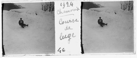 46 1924 Chamonix. Couse de luge