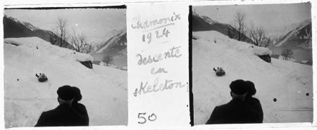 50 Chamonix 1924. Descente en skeleton