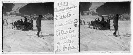60 1923 Chamonix. L'autochenille Citroën sur les pentes du Brévent