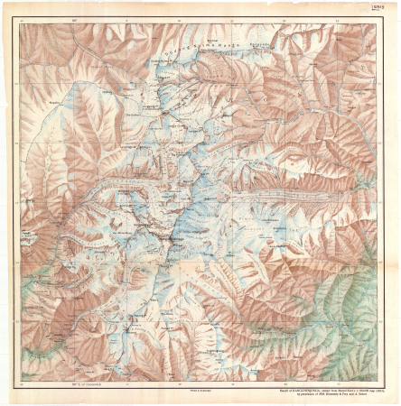 Massif of Kangchenjunga : extract from Marcel Kurz's 1:100,000 map (1931)