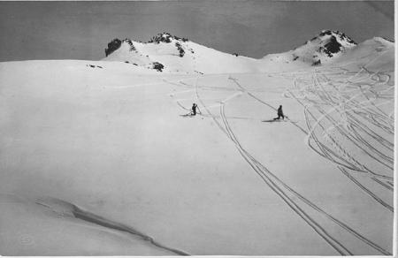[Luogo non identificato (Alpi Cozie?): sciatori]
