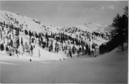 [Luogo non identificato (Alpi Cozie?): valle innevata con sciatori]