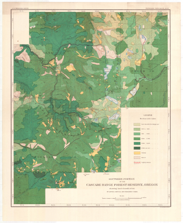 Southern portion of the Cascade Range forest reserve, Oregon, showing land classification