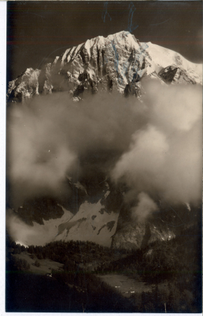 [129 - Courmayeur: Lago Checrouit m.2180, Aig. Noire de Peteret m.3780 e M. Bianco m.4810; 92 - Courmayeur: M. Bianco m.4810]