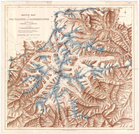Sketch map of the glaciers of Kangchenjunga