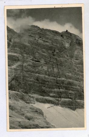 La Via Comici-Fabian-Slcovich sulla parete ovest della Cima di Mezzo della Croda dei Toni (3086)