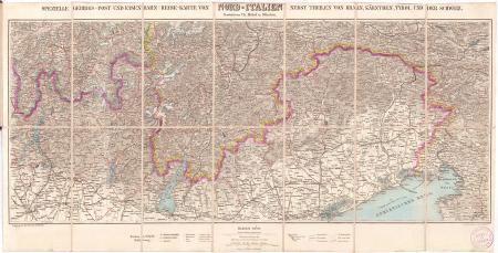Spezielle Gebirgs-Post und Eisenbahn-Reise-Karte von Nord-Italien