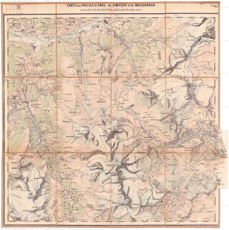 Carte des Vallées de Saas, du Simplon et de Macugnaga : portion de la Carte du Sud du Valais